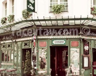 Paris Print, Le Petit Zinc, Paris Cafe, Beige, Green, French Cafe, Paris Photography, Large Wall Art