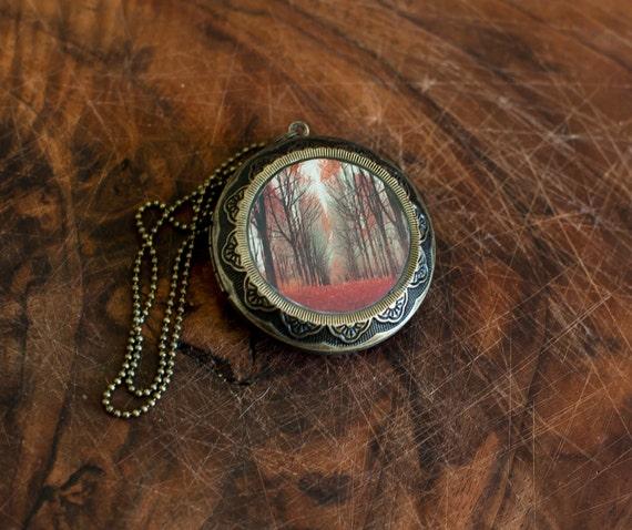 Large Art Locket - Woodland Fairy Tale Locket - Orange, Red, Fall Gift for Women