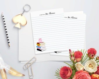 Personalized Teacher Note Writing Paper - PRINTABLE FILE - 5 x 7 - Books and Apple