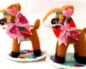 Free Shipping, Needle Felt Deer Doll, Kawaii Deer Doll, Deer Doll, Strawberry Ribbon Deer Version, Hummingmint Needle Felt Figure