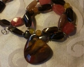 big bold chunky Mookaite natural stones necklace