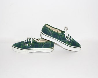 VANS PLAID Rare USA Made Vintage Sneakers 7.5  -Authentic-