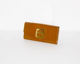 Vintage PIERRE CARDIN Wallet Clutch Brown Leather Gold Logo