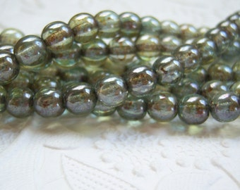 Czech 6mm sage green beads with a luster finish, lot of (50) beads - KP114