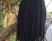 Inky Black Wool Roving Lightweight Dread Extensions
