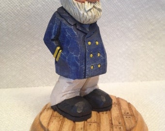 Custom Carved Old Salty Sea Captain Wood Carving Hand Carved Handmade Gift For Dad Gift For Him Sailor Fisherman Figurines Home Decor