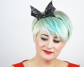 SALE - Bat Bow Headband, Glitter Halloween Headband, Various Colours - Christmas In July CIJ