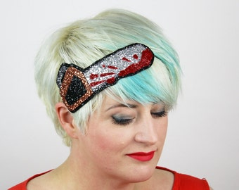 Halloween Bloody Chainsaw Headband, Glitter