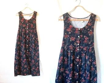 c1990's Dark Floral Oversized Jumper Dress