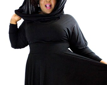 Plus size Hooded Cowl Flared Dress