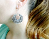 Silver Boho Earrings, Large Circle Filigree Earrings, Statement Jewelry