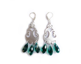 Silver Statement Earrings, Emerald Green Silver Dangle Earrings, Oriental Dangles