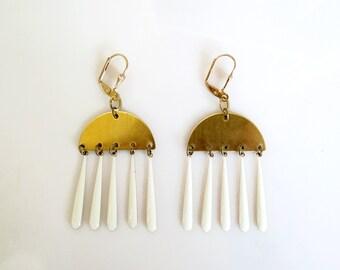 White Gold Statement Earrings, Drop Dangle Earrings, Gold Green Earrings
