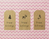 Happy Holidays Gift Tag Labels - Brown Kraft, Holiday Labels, Winter Stickers, Gift Tags, Holiday Stickers, Gift Wrap