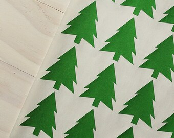 Green Christmas Tree Stickers - Holiday Tree Labels, Winter Stickers, Holiday Stickers, Envelope Seals, Gift Wrap