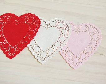 Heart Lace Paper Doilies Variety Pack - Set of 24 in Red, White & Pink - Valentines Day, 6 Inch Doilies, Paper Doilies, Gift Wrap