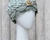 Turban Hat Gypsy Boho Style Cloche Hat / Mint Green Silk Velvet