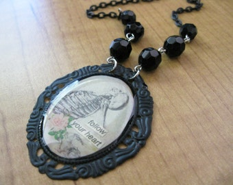 Follow Your Heart Inspirational Skeleton Anatomy Necklace