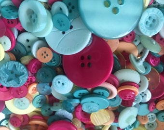 """100 Mixed Buttons, """"Summertime"""" Shades, Assorted Shapes, Sizes and Styles Included"""