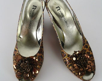 Vintage 80s, Roberto Capucci Slingback Wedge Heels, Sequins, Leopard Print, Gold, Copper, Bronze Sequin Rosette, Peep Toe, Size 6 B, VLV