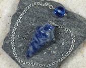 Sodalite Smooth Cone Crystal Pendulum w/ Czech Glass Crystal Finger Grip, SSP15