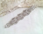 crystal applique • crystal and pearl applique • bridal sash trim • rhinestone sash