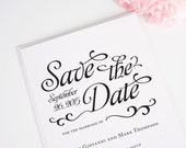 Classic Save the Date Card in Black and White - Alluring Script Design Deposit