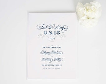 Antique Monogram Save the Date in Navy - Deposit to Get Started