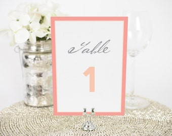 "Wedding Table Numbers - 4x6"", Any Color - Modern Circle Logo Design - Decorative, Party Decoration, Script"