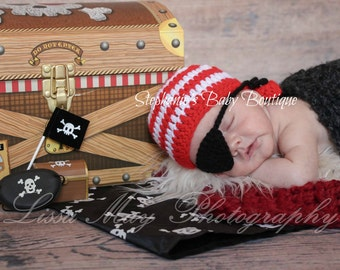 Crochet Baby Boy Pirate Hat & Eye Patch Set, Custom Made To Order, Newborn, 0-3, 3-6 Months, Photo Prop, Baby Shower Gift, Scarf, Bandanna