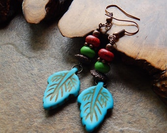 Boho Leaf earrings, carved stone leaves, colorful hippie earrings, turquoise leaves, multicolor earrings, woodland leaves, bohemian, hippy