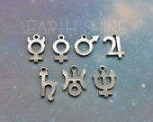 Planetary Symbol Glyph necklace , 18mm, Jupiter, Saturn, Neptune, symbols, 18mm pendant charms
