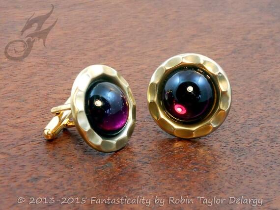 Steampunk CUFF LINKS Cufflinks Vintage Amethyst Purple Glass Cabochons and Brass Wedding Groom CL0003 by Robin Taylor Delargy RTD