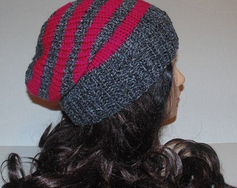 Grey and Pink Striped Hat, Slouchy Hat, Slouchy Beanie, Womans Hat, Winter Hat, Slouchie Hat