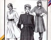 "1980s Dress with Dolman Sleeves - Vintage Pattern Stretch & Sew 1569 - Bust 30 to 46"" UNCUT FF"