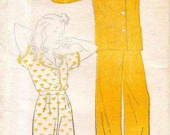 1940s Girls Pajamas Pattern - Vintage New York 715 - Size 12 Two Piece Pajamas
