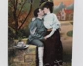 """Antique Spooner Postcard """" Spooning at Fort De Sota Florida """" German Postcard"""