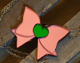 Handmade Acrylic Sailor Jupiter Fuku Bow Necklace