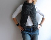 Womens Vest Sweater Cardigan, Gray Vest with Fringe, Hand Knitted Vest, Sleeevless Top, Christmas Gift, Holiday Fashion, Winter Accessories