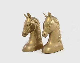 Vintage - Bookends - Cast Metal - Brass - Horse Heads - Korea