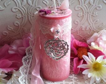 Goddess Aphrodite Pillar Candle with Rose Quartz Gem Stonee
