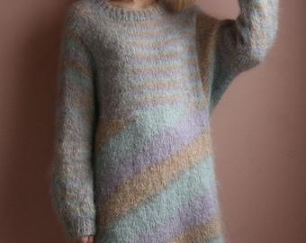 Oversized Monster Sweater Dress / Floor Length See-Through Dress / Cotton Candy Fuzzy Knit Dress
