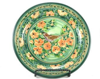 Green Cermaic Serving Plate - Porcelain Platter - Handmade Lunch Plate in Orange Floral Bird Design
