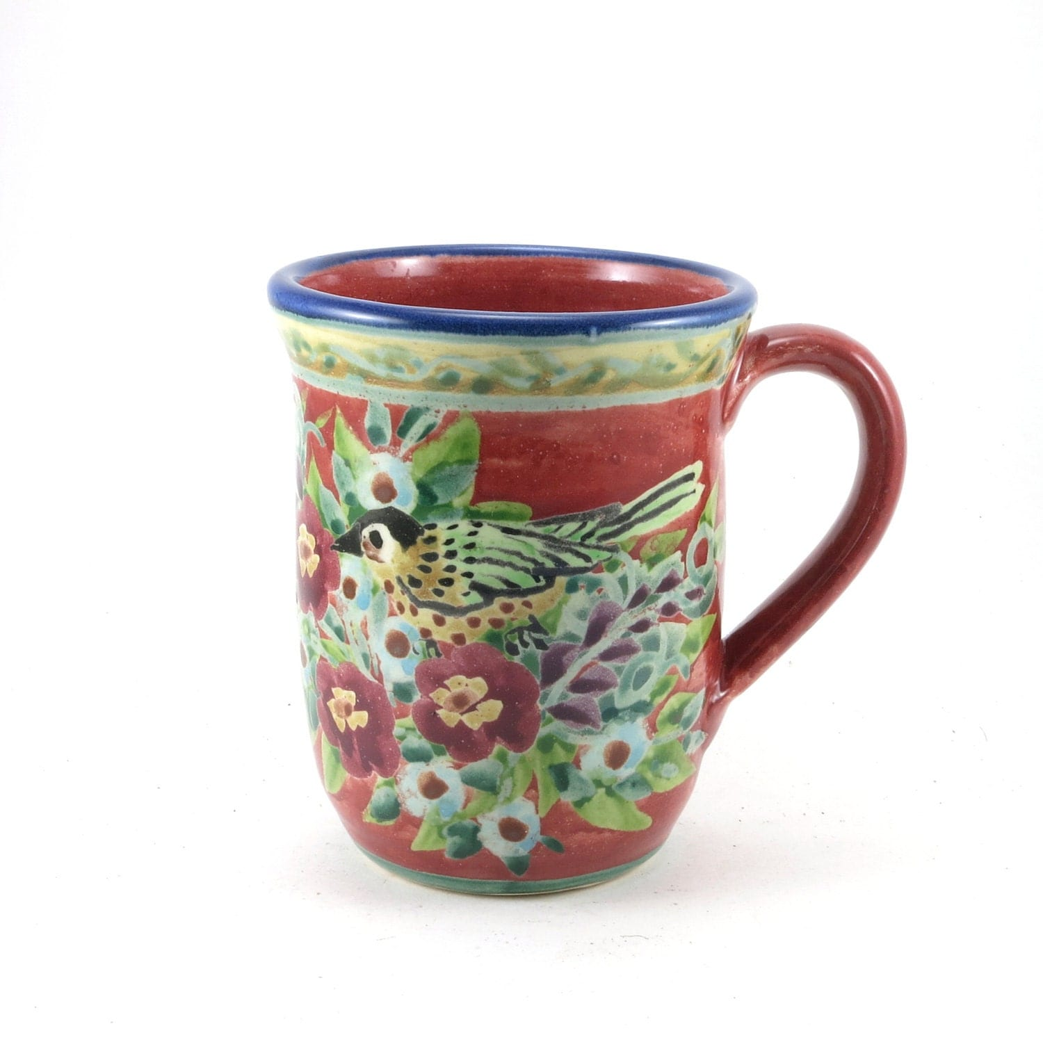 Unique Coffee Mug Red Porcelain Tea Cup Perfect For Floral