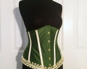 """Sample SALE- 24"""" (for 26-30"""" natural waist)- Woodland Fae Steampunk Underbust Corset, steel boned, olive green silk, ready to ship"""