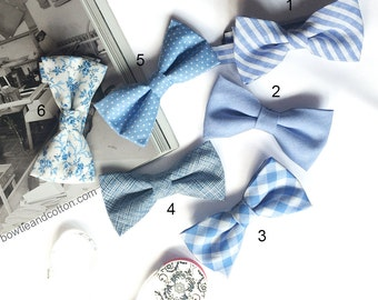 Wedding Set of Blue Men's Bow Ties, Groomsmen Bow Ties, Mismatched Wedding Bow Ties