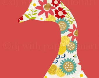 Silhouetted Goose with Flower Pattern on Red 8x10