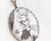 Sailor Moon - Usagi - Glass Jewelry - Handmade Recycled - Manga / Anime Pendant Necklace