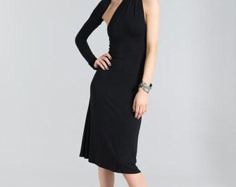 Party Dress / A Line Dress / Black Dress / One Shoulder Dress / Unique Dress / Unique Party Dress / LBD by marcellamoda - MD004
