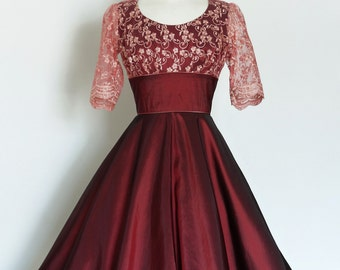 Cranberry Taffeta and Rose Lace High Back, Scoup Neck Tea Dress - Made by Dig For Victory